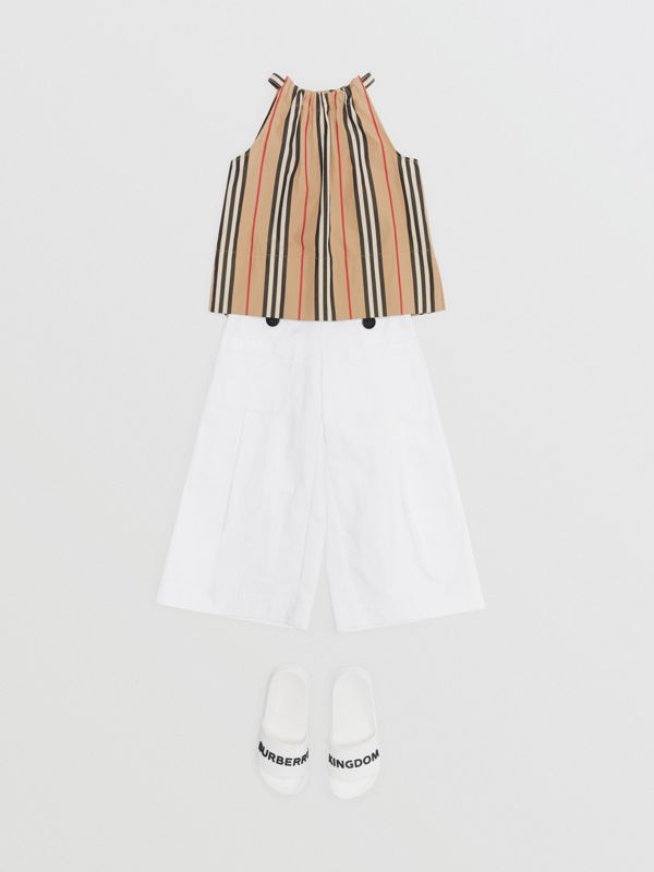 Icon Stripe Cotton Halterneck Top in Archive Beige | Burberry Australia - cell image 2