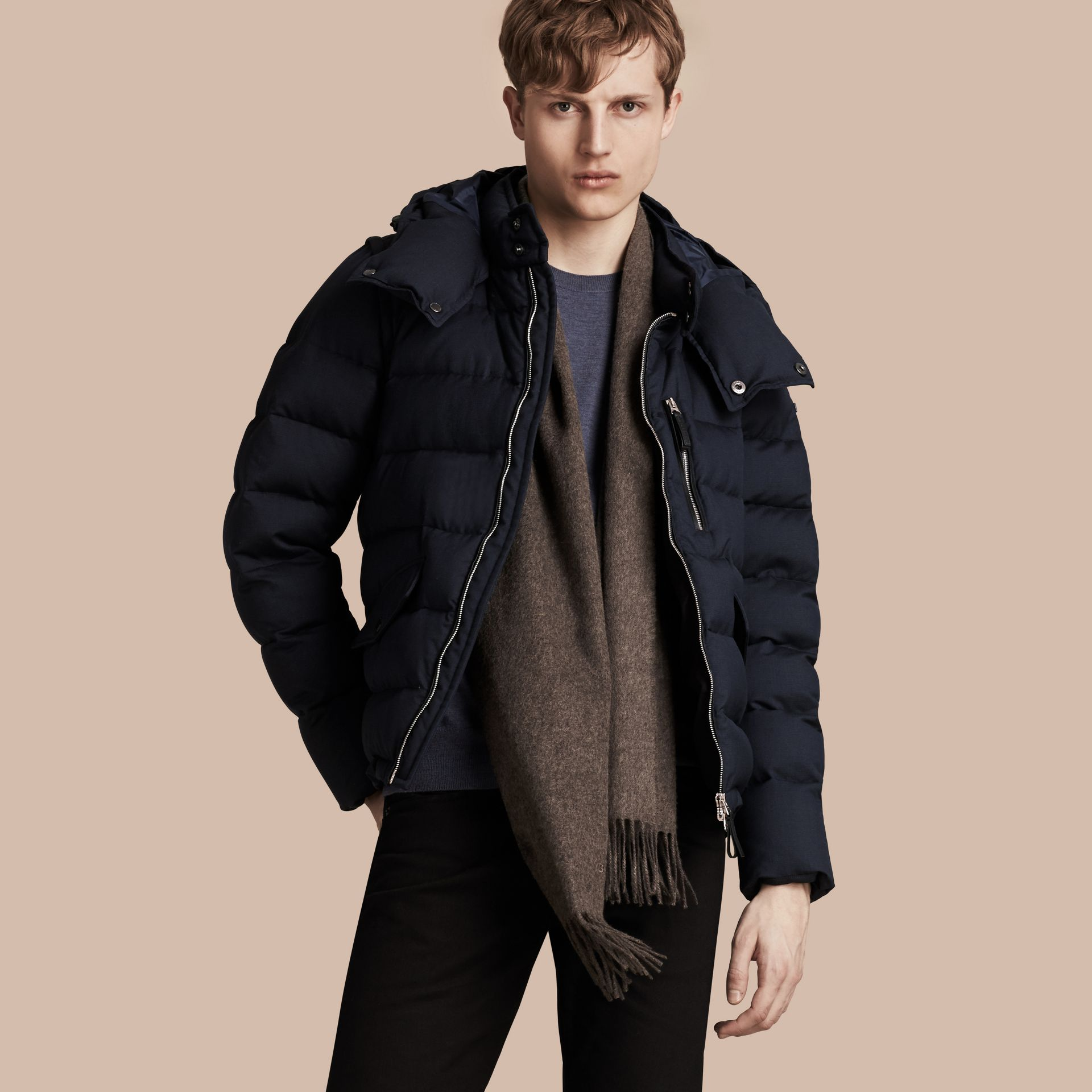 Navy Down-filled Silk Wool Puffer Jacket - gallery image 1
