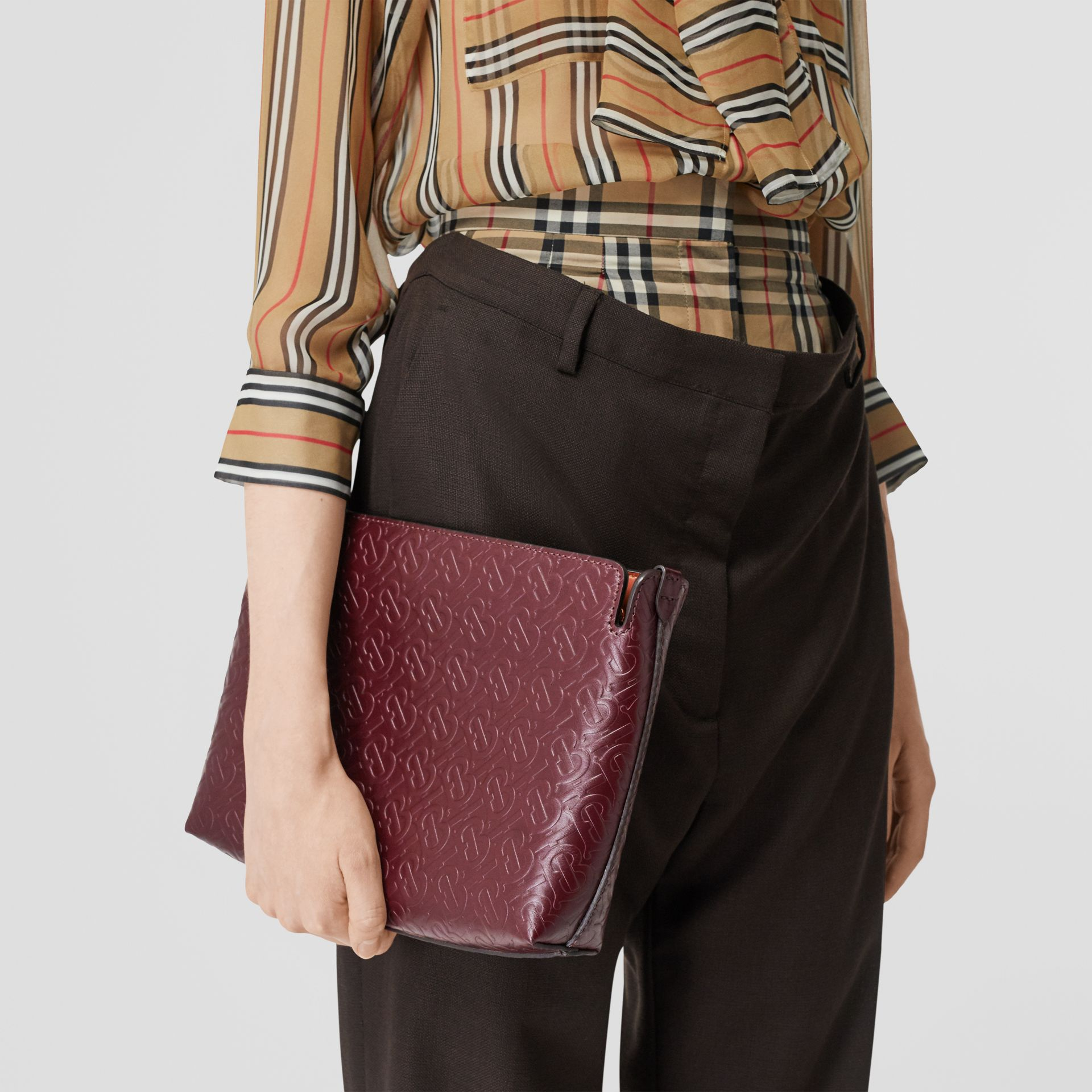 Medium Monogram Leather Clutch in Oxblood - Women | Burberry - gallery image 2