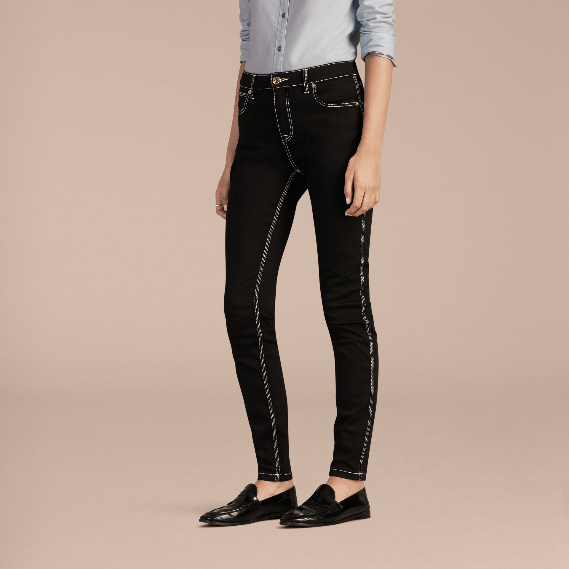 Black Skinny Fit Stretch Jeans with Contrast Topstitching - gallery image 6