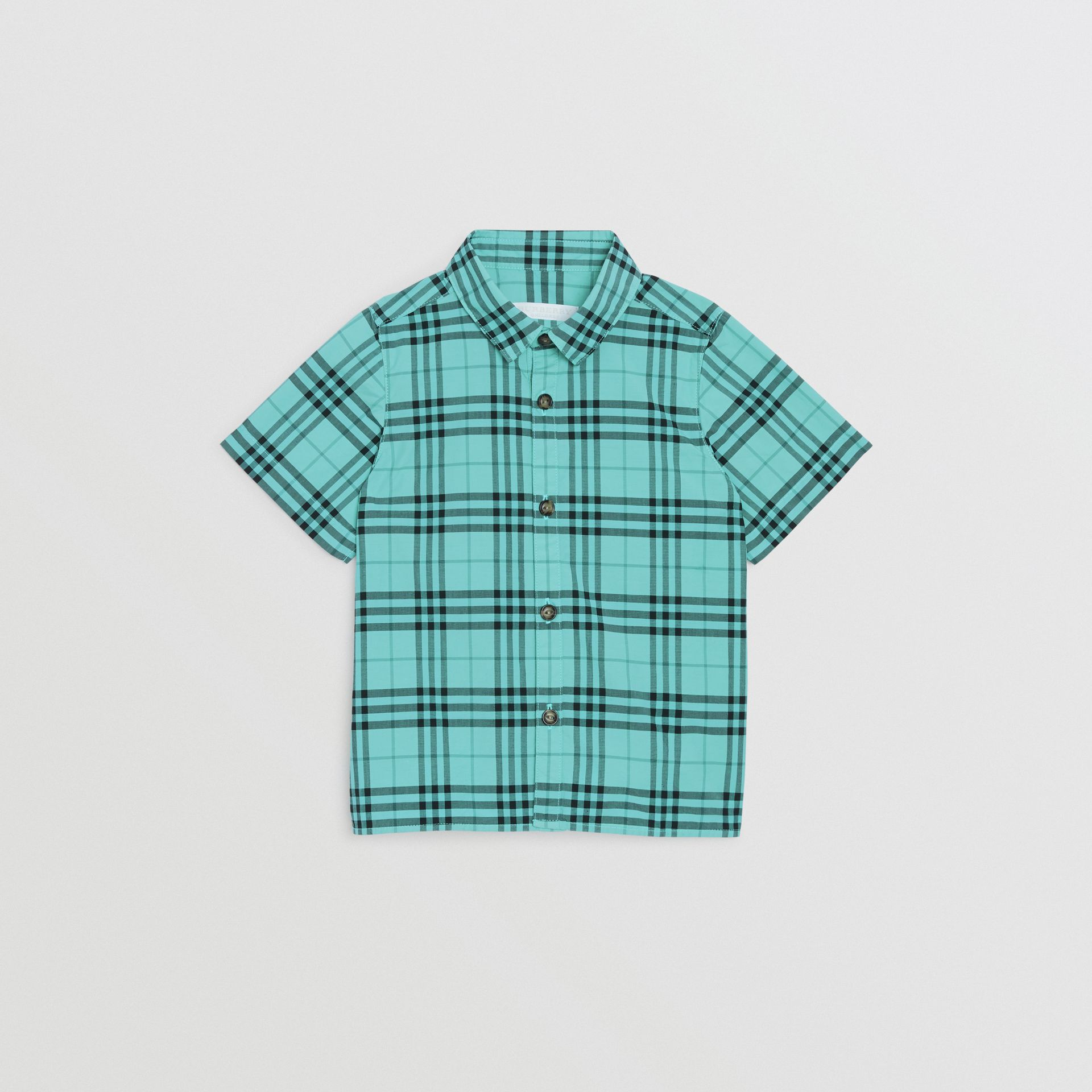 Short-sleeve Check Cotton Shirt in Light Mint | Burberry Singapore - gallery image 0