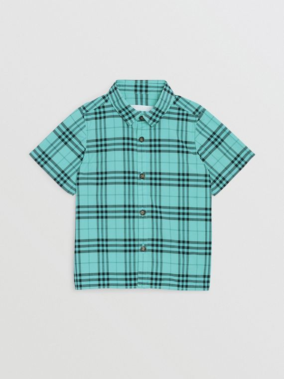 Short-sleeve Check Cotton Shirt in Light Mint