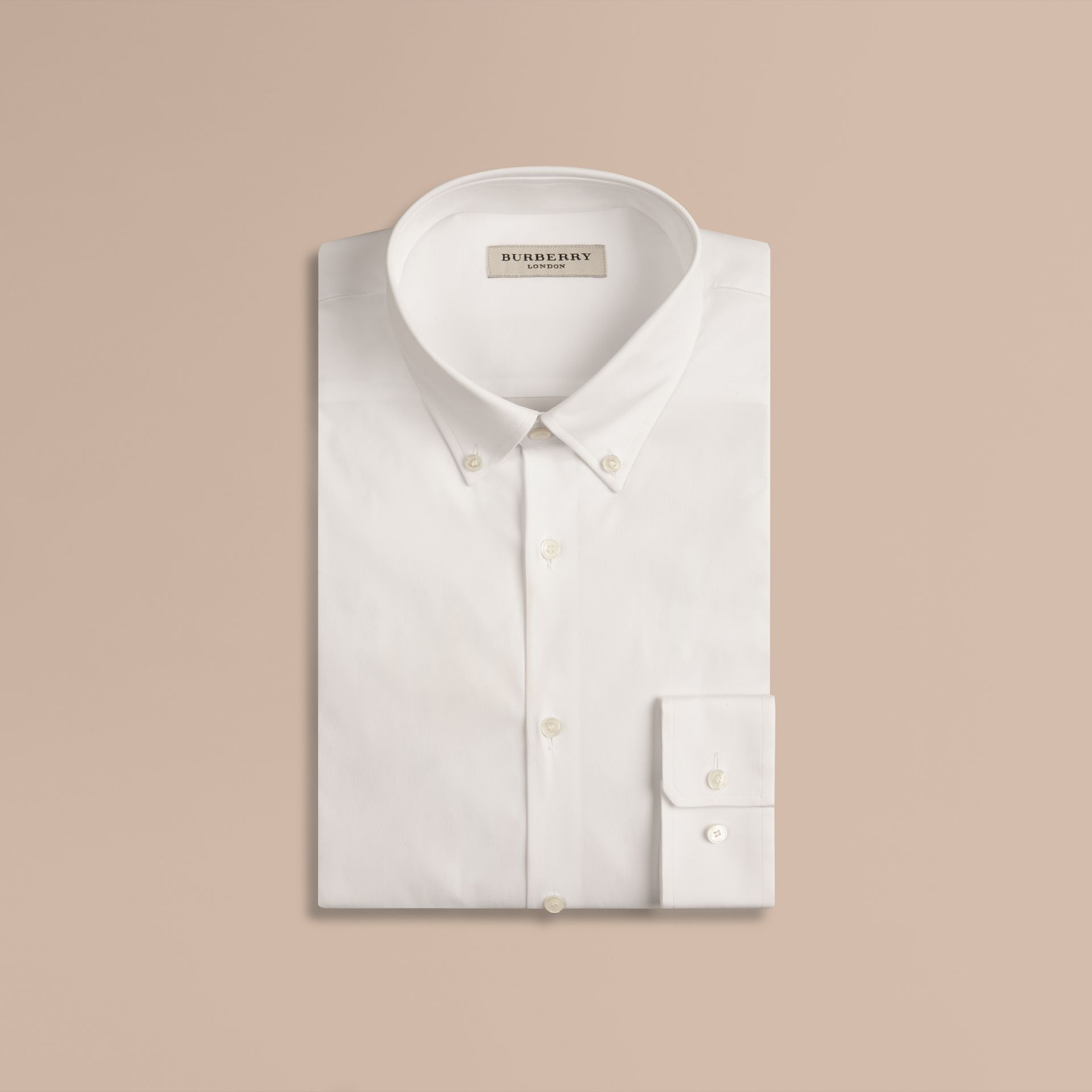White Slim Fit Button-down Collar Stretch-cotton Shirt White - gallery image 4