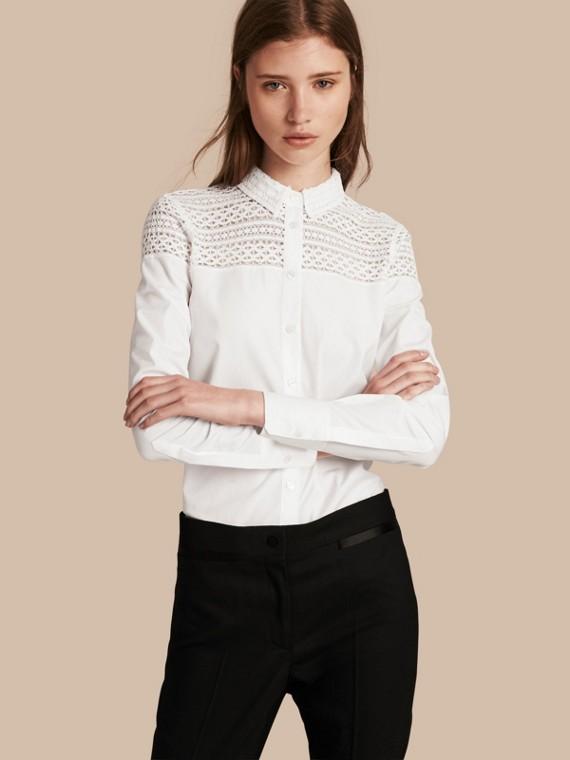Macramé Lace Detail Cotton Shirt