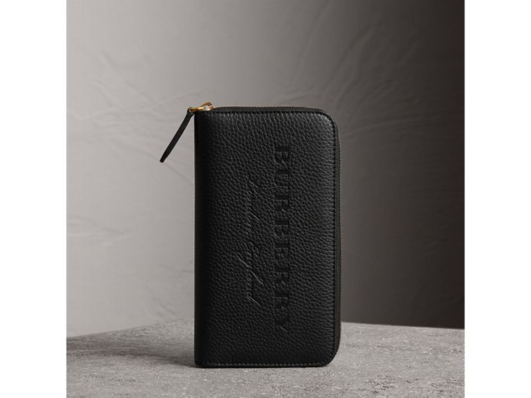 Embossed Grainy Leather Ziparound Wallet in Black - Men | Burberry United Kingdom - cell image 4