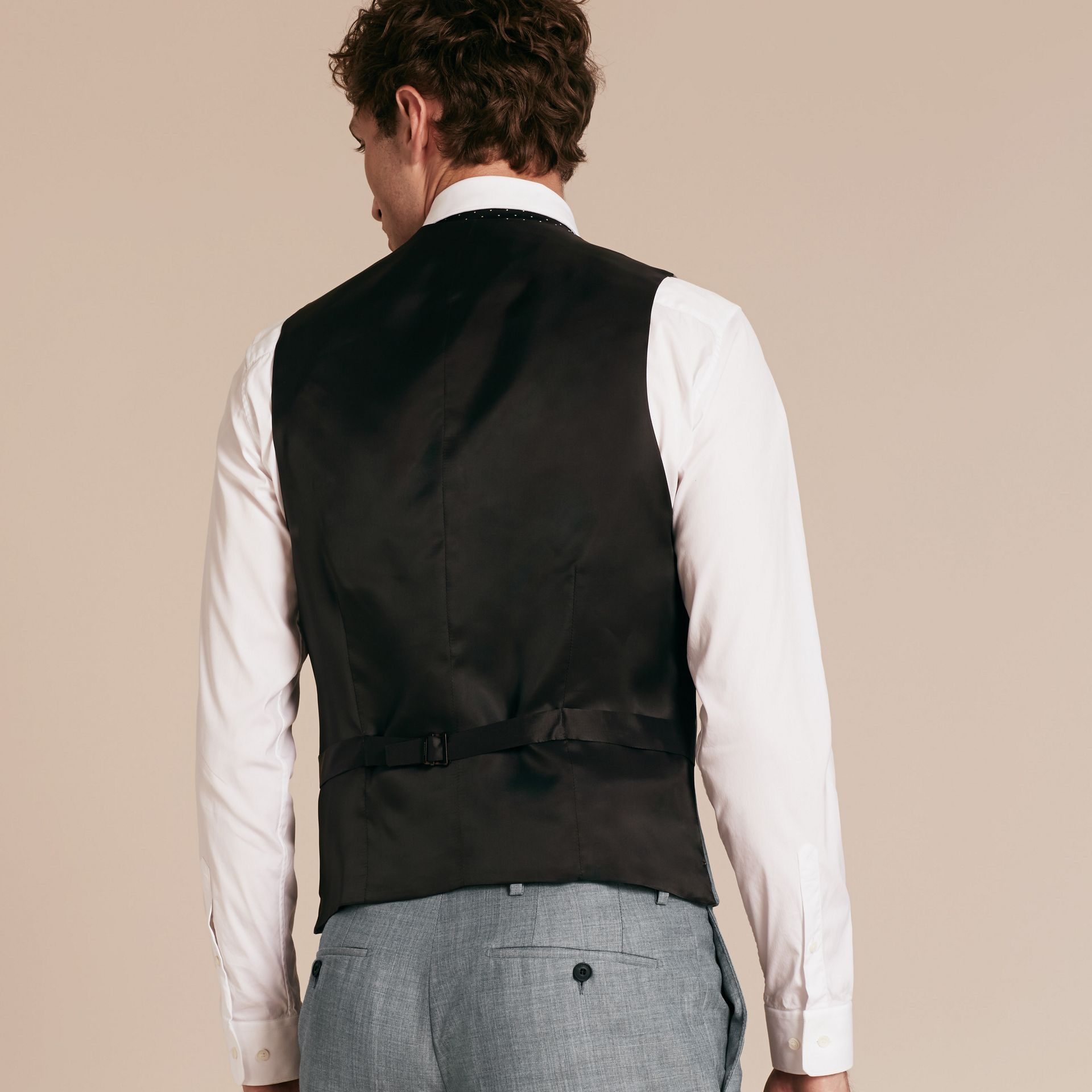 Light grey melange Modern Fit Wool and Satin Panel Waistcoat - gallery image 3