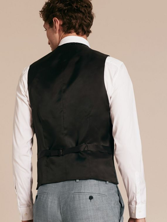 Light grey melange Modern Fit Wool and Satin Panel Waistcoat - cell image 2