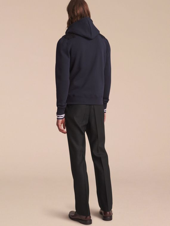 Lace Appliqué Jersey Hooded Top in Dark Navy - Men | Burberry - cell image 2