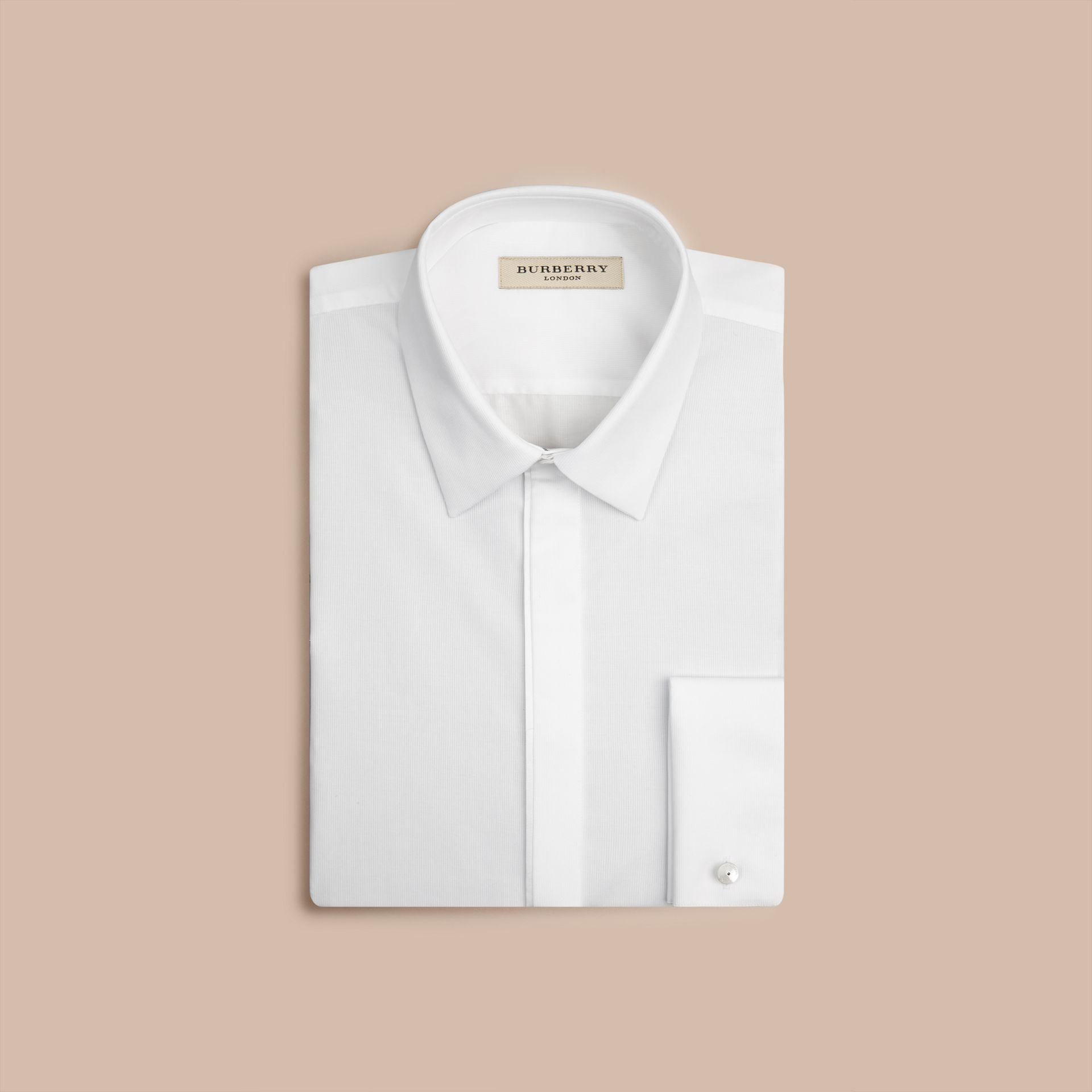 White Slim Fit Double-cuff Cotton Dress Shirt - gallery image 4
