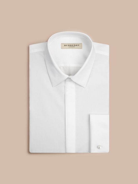 White Slim Fit Double-cuff Cotton Dress Shirt - cell image 3