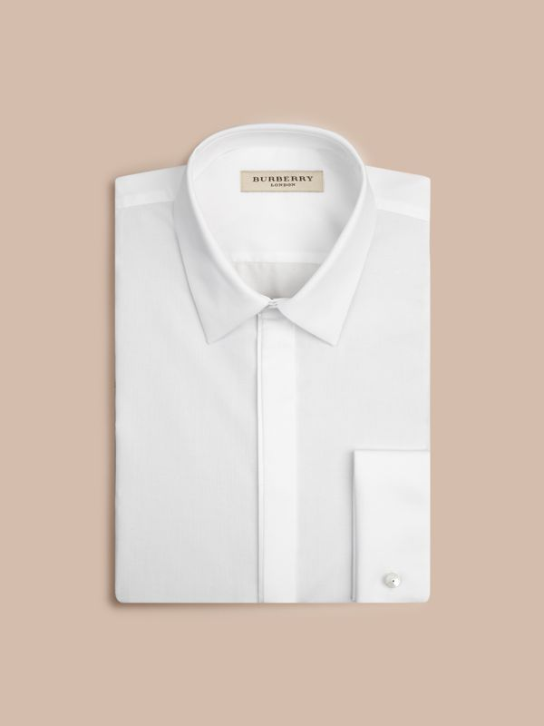 Slim Fit Double-cuff Cotton Dress Shirt in White - Men | Burberry United States - cell image 3
