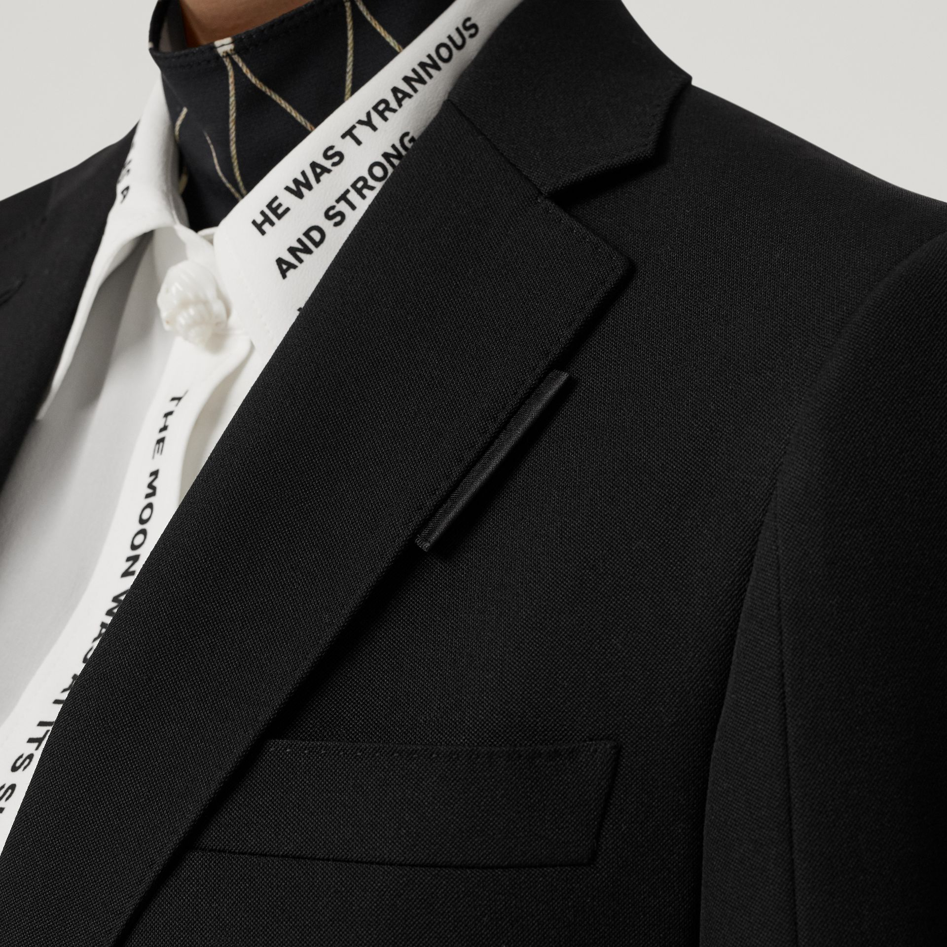 Logo Panel Detail Wool Tailored Jacket in Black - Women | Burberry - gallery image 4