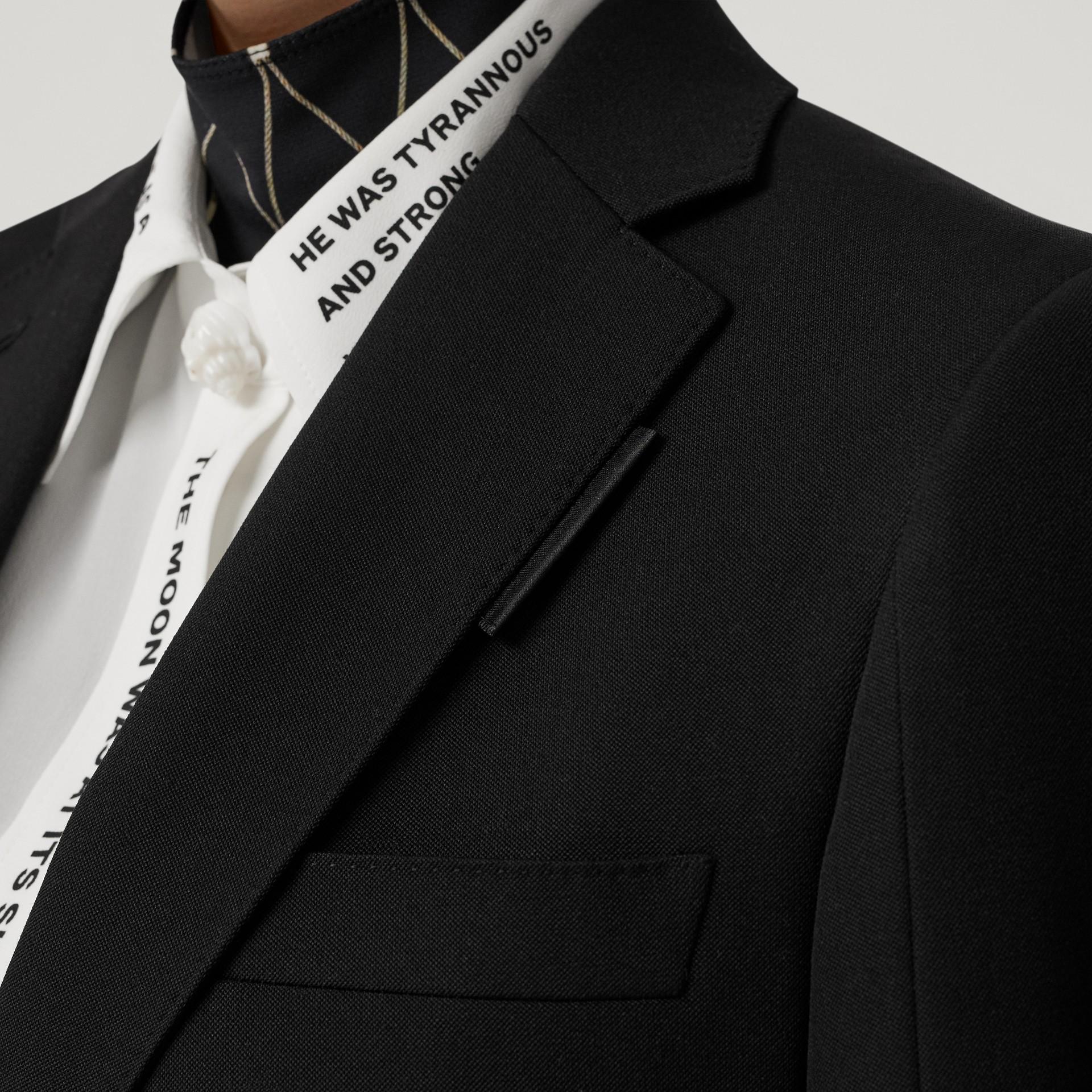 로고 패널 디테일 울 테일러드 재킷 (블랙) - 여성 | Burberry - 갤러리 이미지 4