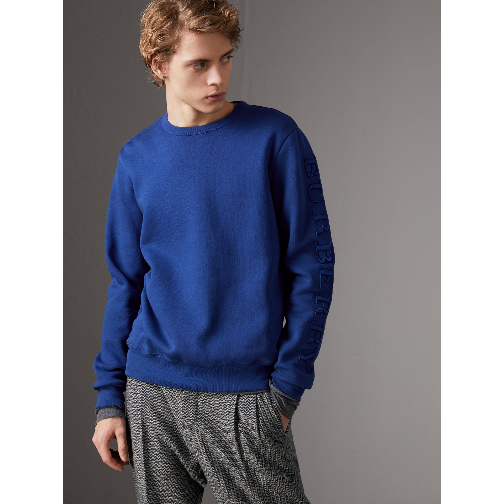 Cotton Jersey Sweatshirt in Bright Blue - Men | Burberry Australia - gallery image 4