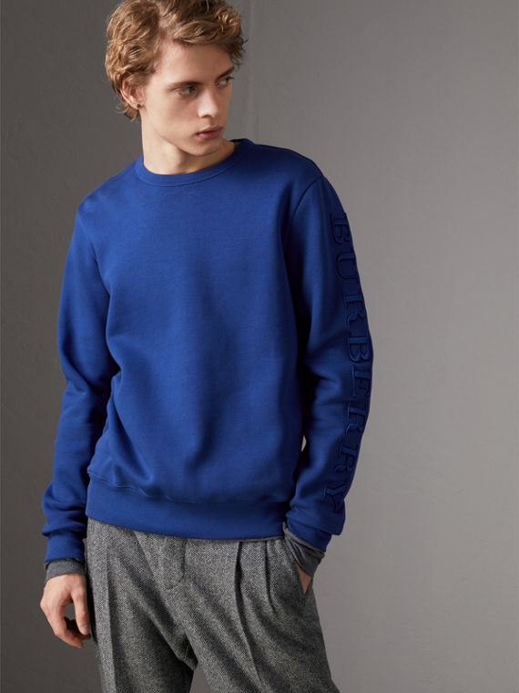 Cotton Jersey Sweatshirt in Bright Blue