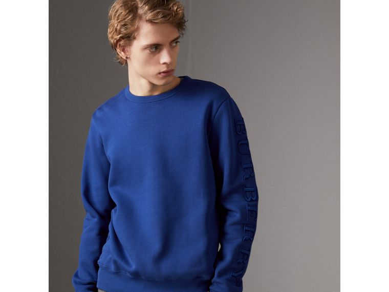 Cotton Jersey Sweatshirt in Bright Blue - Men | Burberry - cell image 4