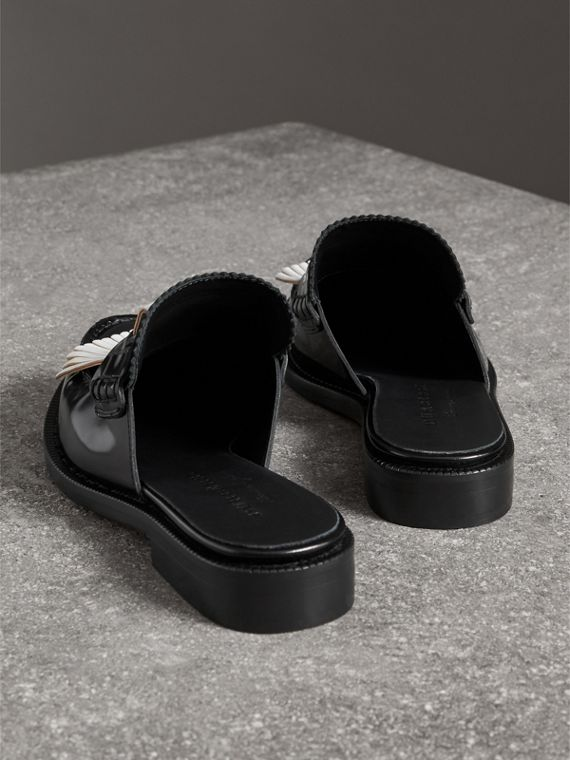 Contrast Kiltie Fringe Leather Mules in Black - Women | Burberry Hong Kong - cell image 3