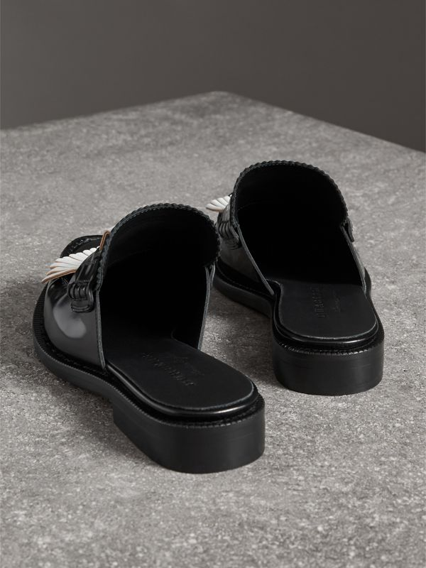 Contrast Kiltie Fringe Leather Mules in Black - Women | Burberry - cell image 3