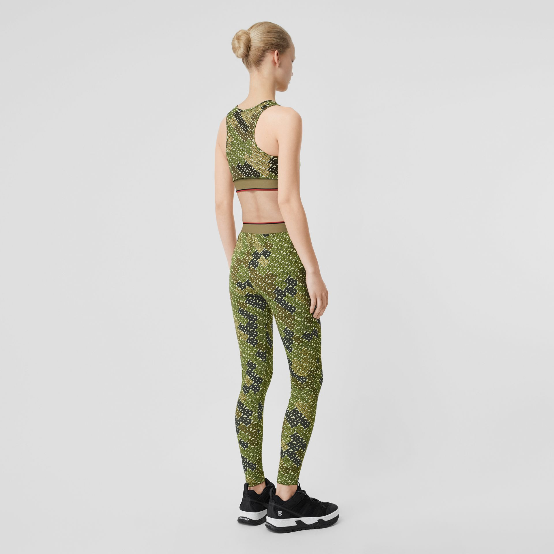 Monogram Print Stretch Jersey Leggings in Khaki Green - Women | Burberry Australia - gallery image 2