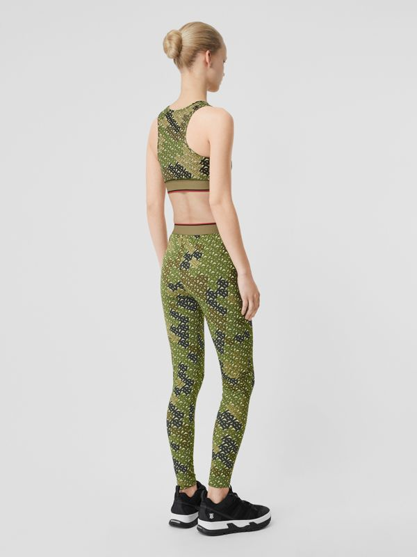 Monogram Print Stretch Jersey Leggings in Khaki Green - Women | Burberry - cell image 2
