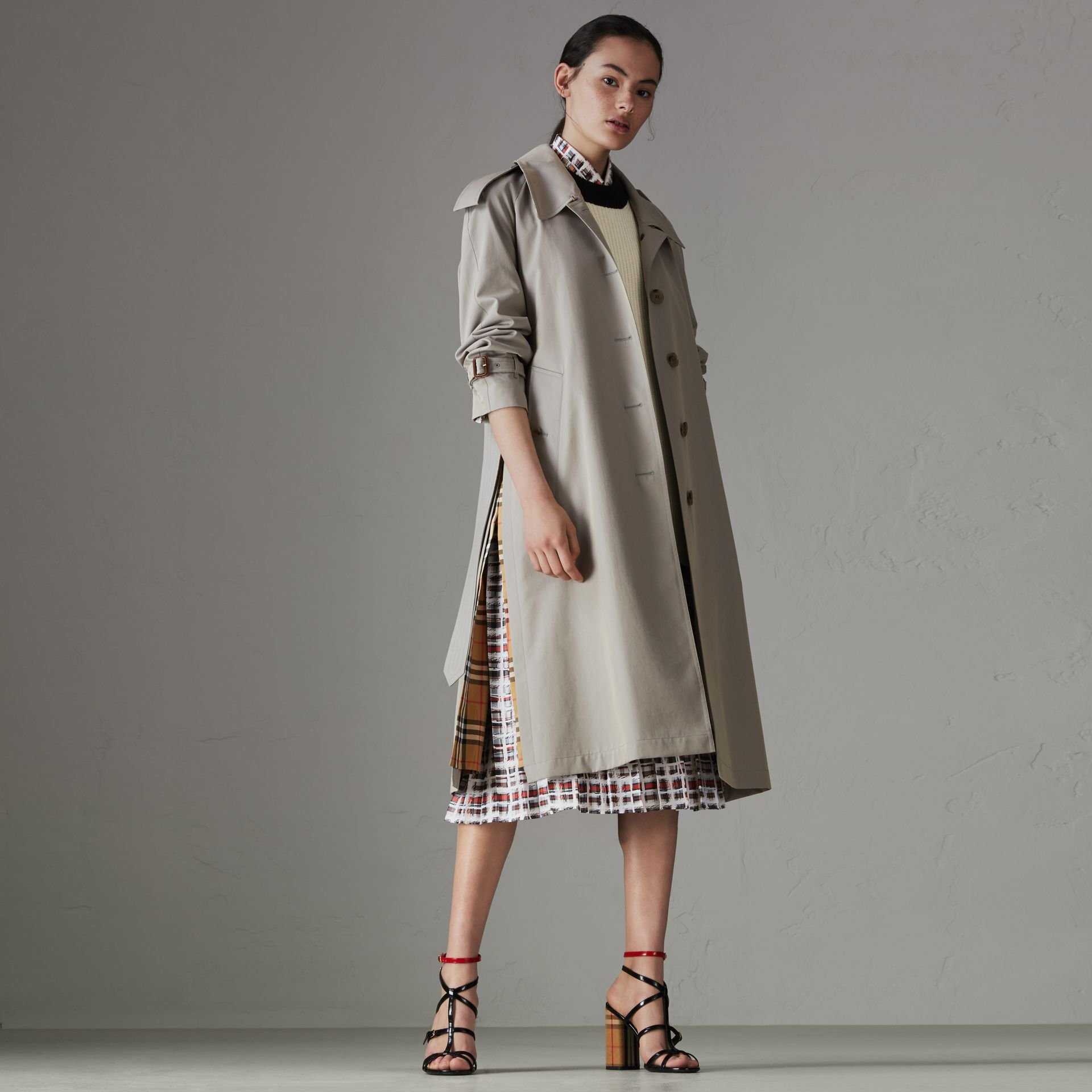 Side-slit Tropical Gabardine Trench Coat in Green Grey - Women | Burberry - gallery image 0