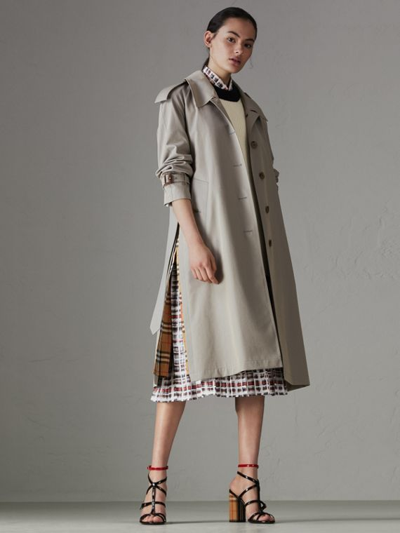 Side-slit Tropical Gabardine Trench Coat in Green Grey