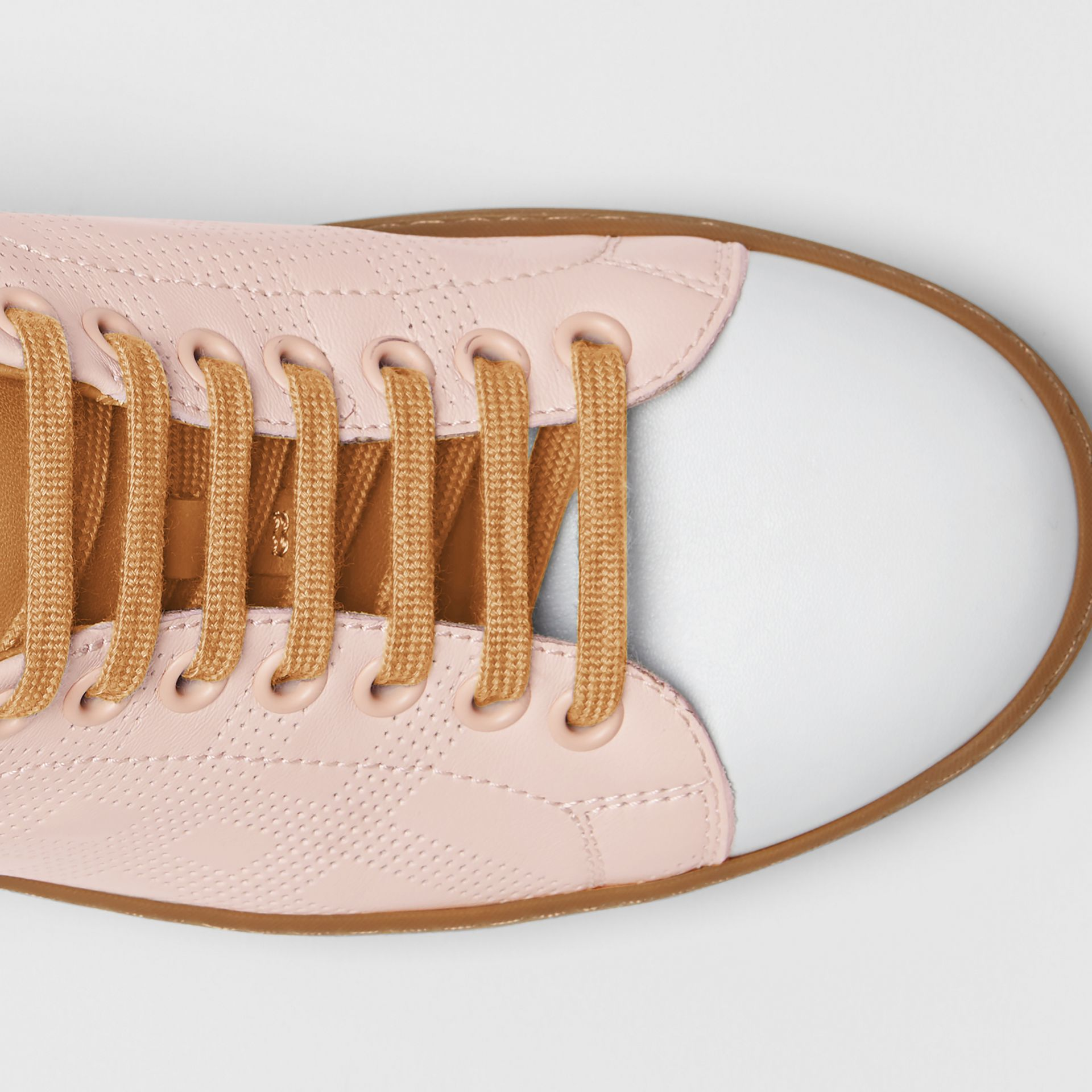 Tri-tone Perforated Check Leather Sneakers in Pale Pink - Women | Burberry - gallery image 1