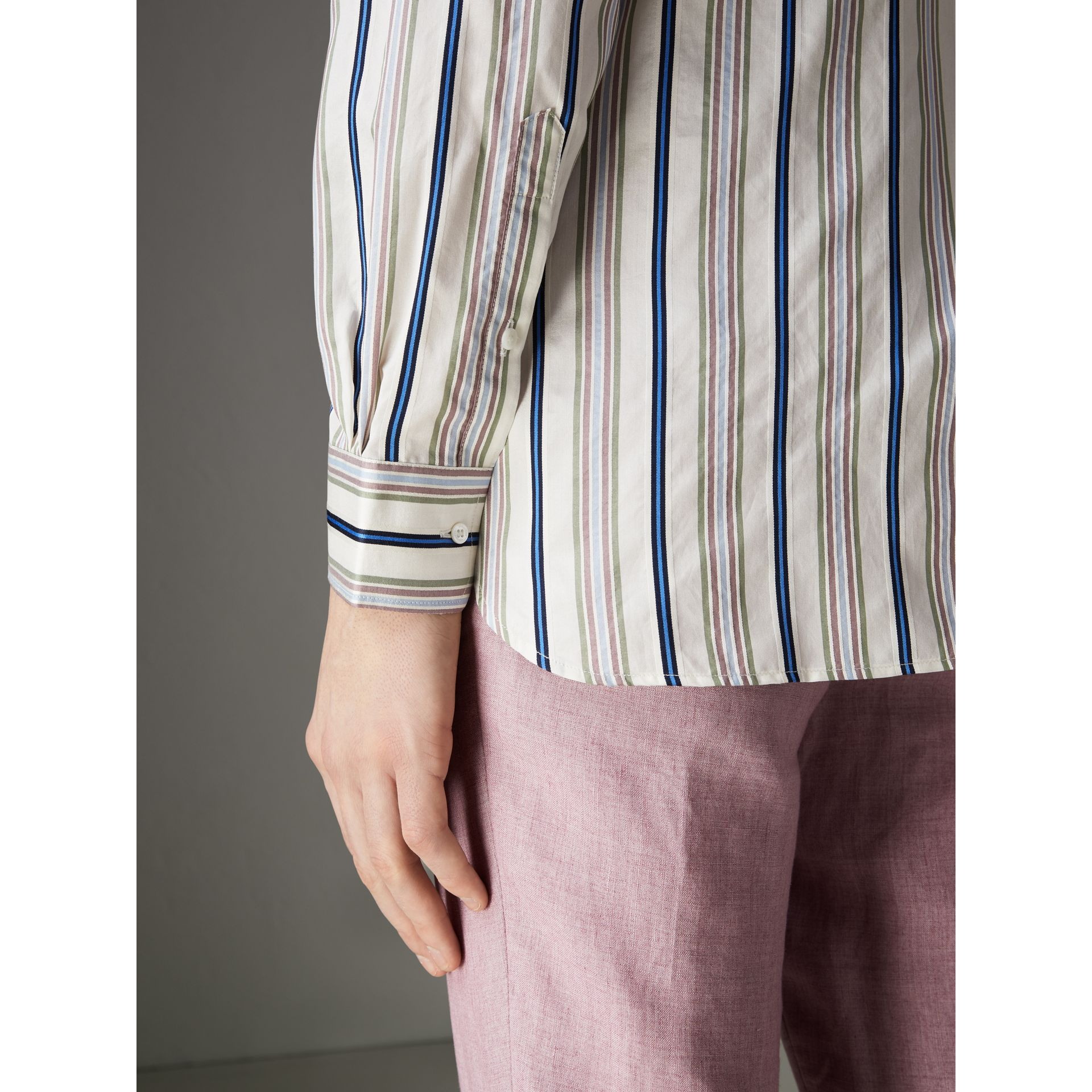 Grandad Collar Striped Silk Shirt in Off White - Men | Burberry - gallery image 4