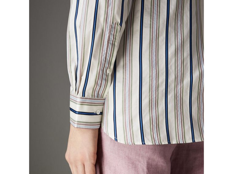 Grandad Collar Striped Silk Shirt in Off White - Men | Burberry - cell image 4