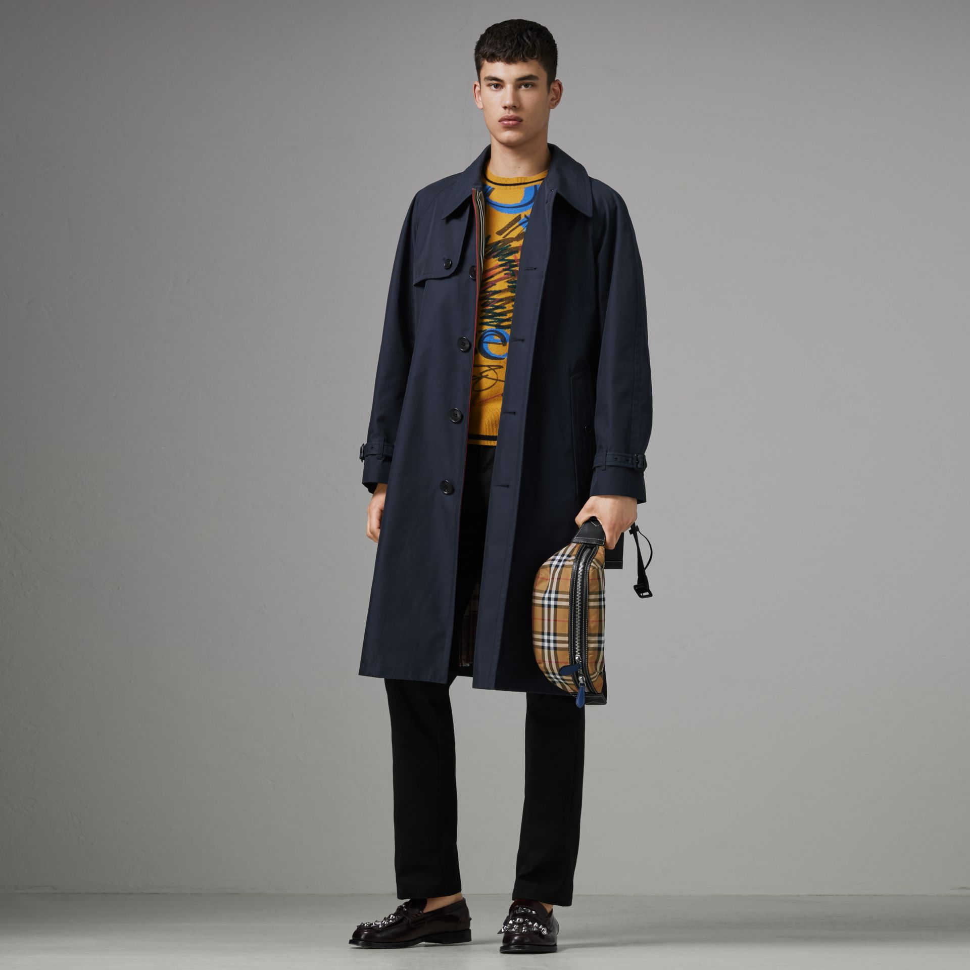 Icon Stripe Cotton Gabardine Trench Coat in Navy - Men | Burberry - gallery image 0