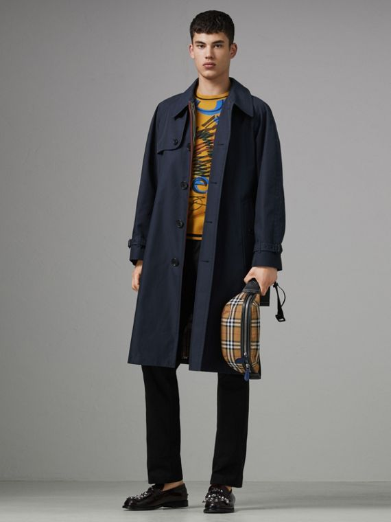 Heritage Stripe Cotton Gabardine Trench Coat in Navy