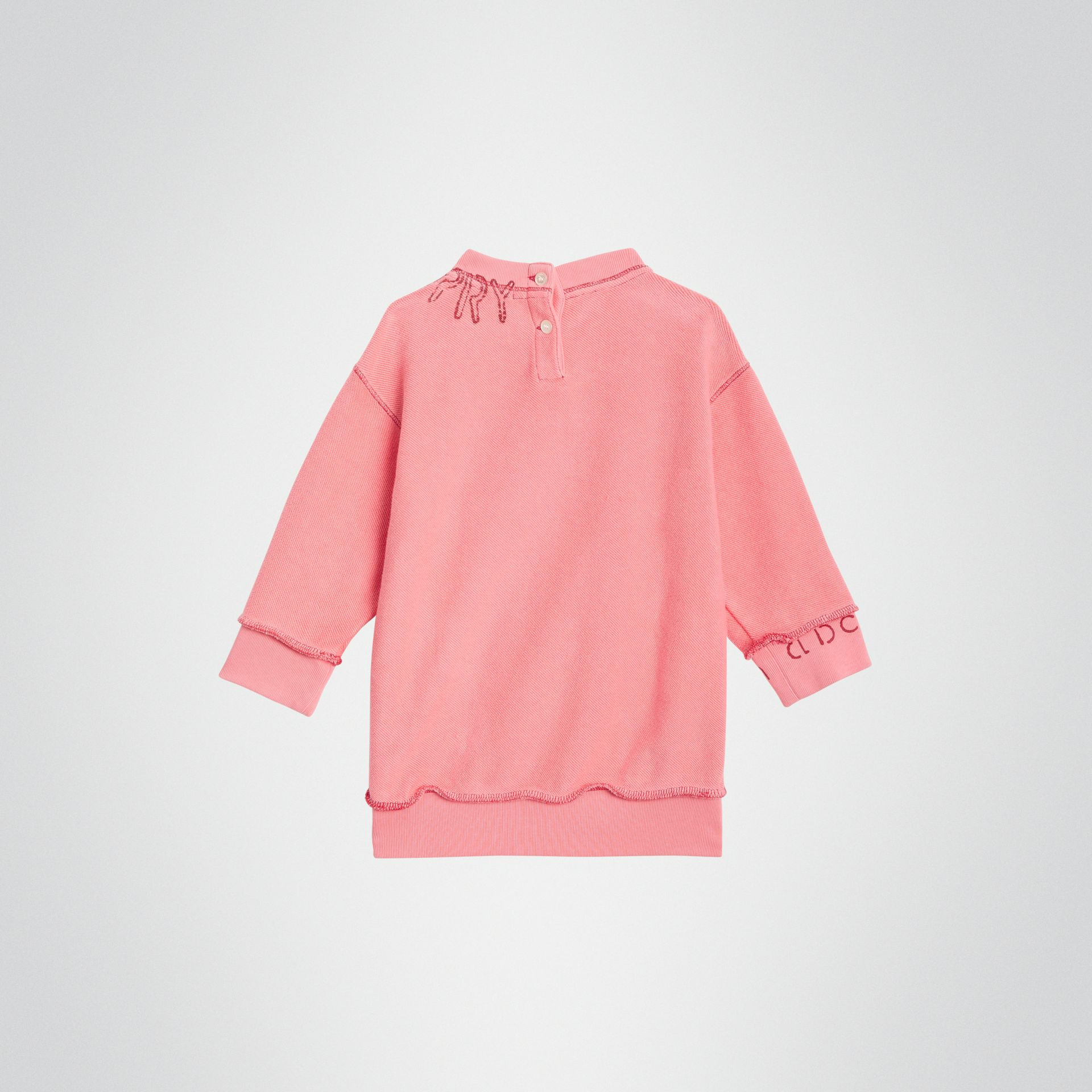 Stencil Logo Print Cotton Sweater Dress in Bright Pink - Children | Burberry United States - gallery image 3