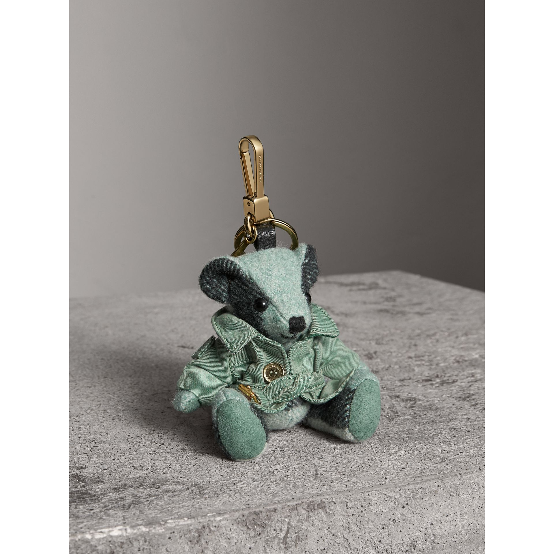 Thomas Bear Charm with Tropical Gabardine Trench Coat in Dusty Mint - Women | Burberry - gallery image 1