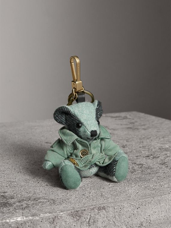 Thomas Bear Charm with Tropical Gabardine Trench Coat in Dusty Mint