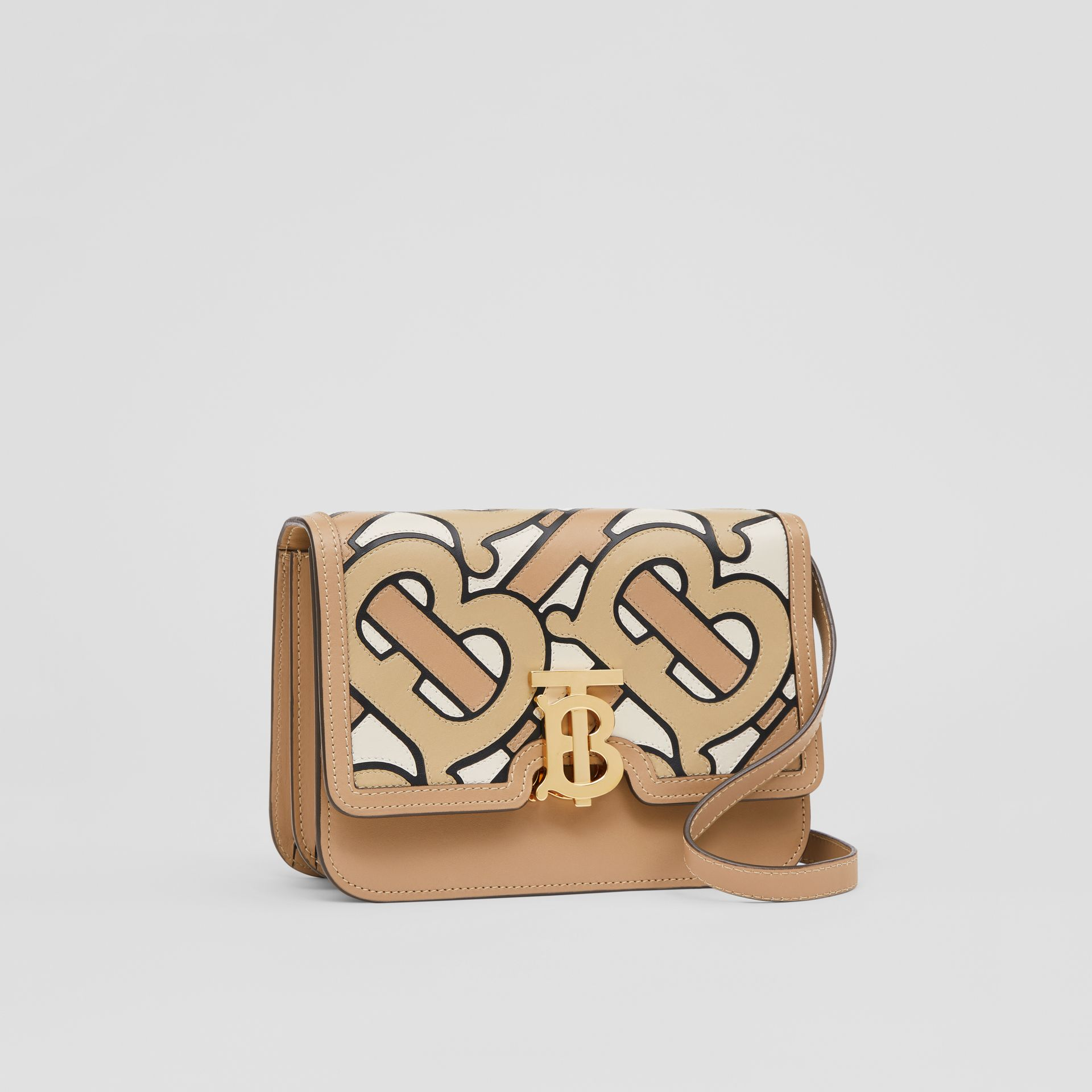 Small Monogram Intarsia Leather TB Bag in Beige - Women | Burberry United Kingdom - gallery image 6