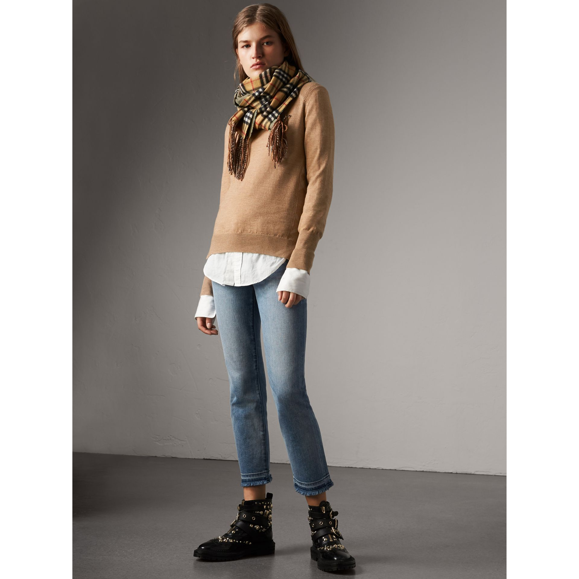 Check Detail Merino Wool Sweater in Camel - Women | Burberry - gallery image 0