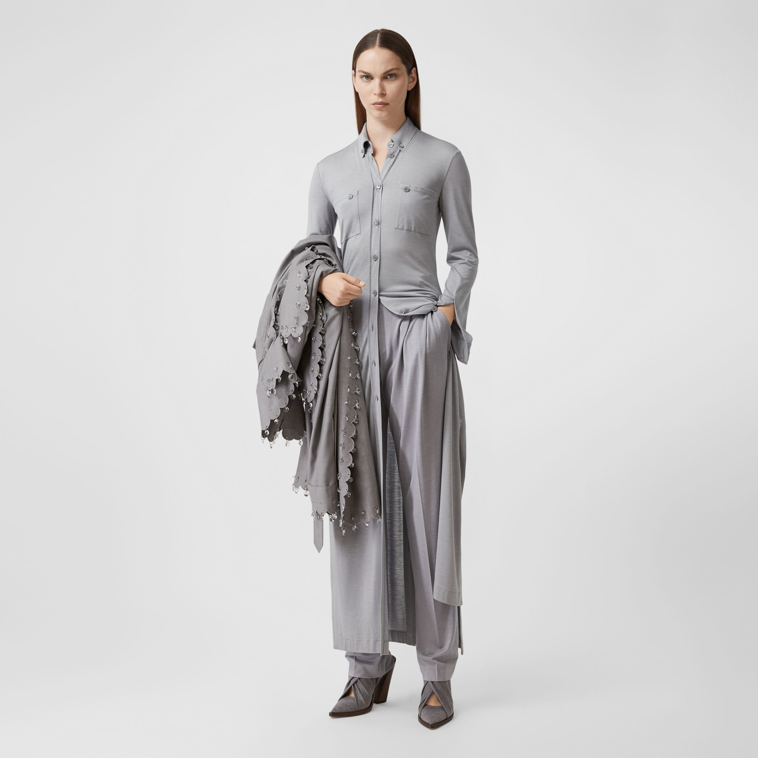 Side-slit Wool Silk Jersey Shirt Dress in Pewter Melange - Women | Burberry - 1