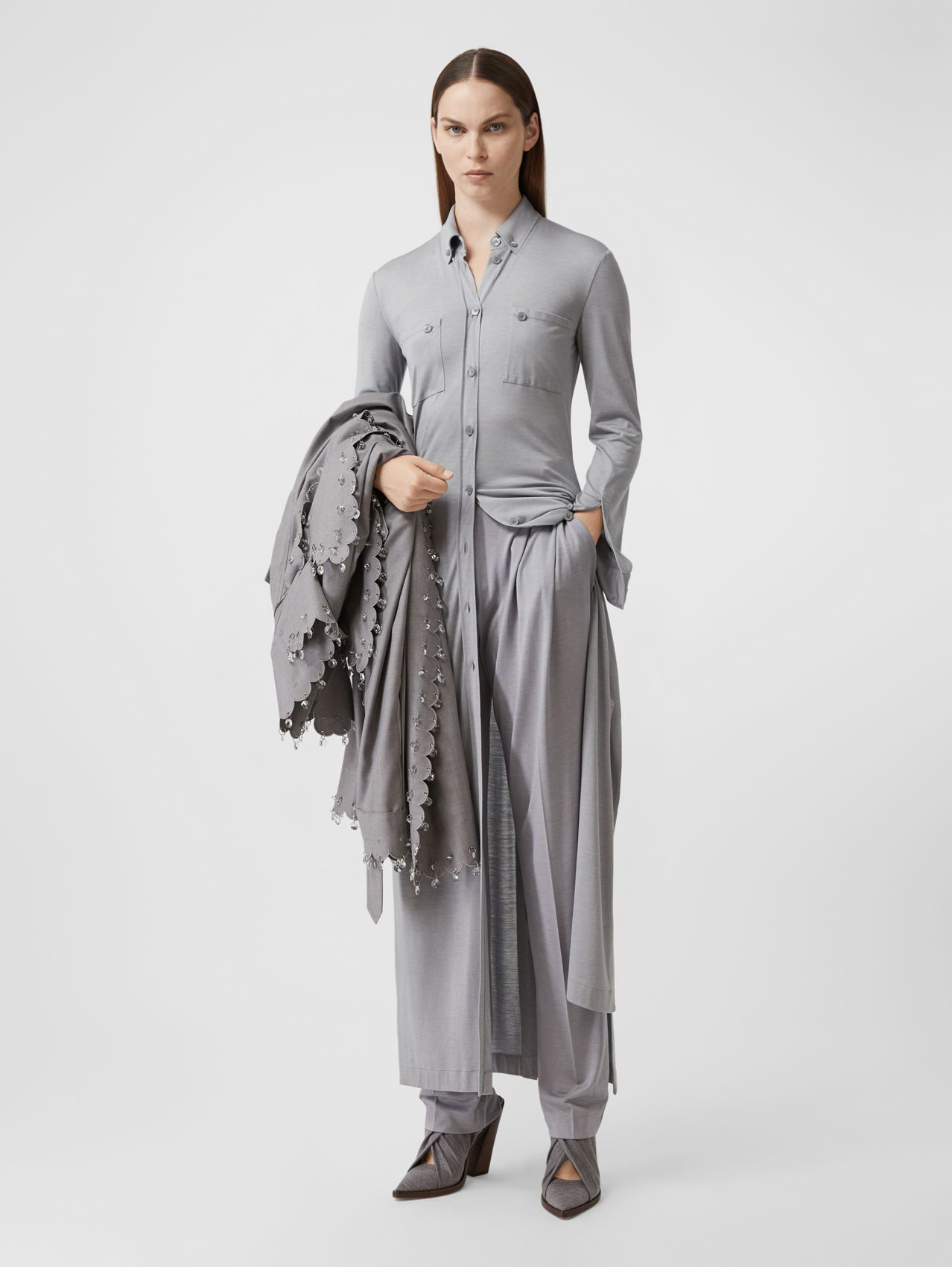 Side-slit Wool Silk Jersey Shirt Dress in Pewter Melange