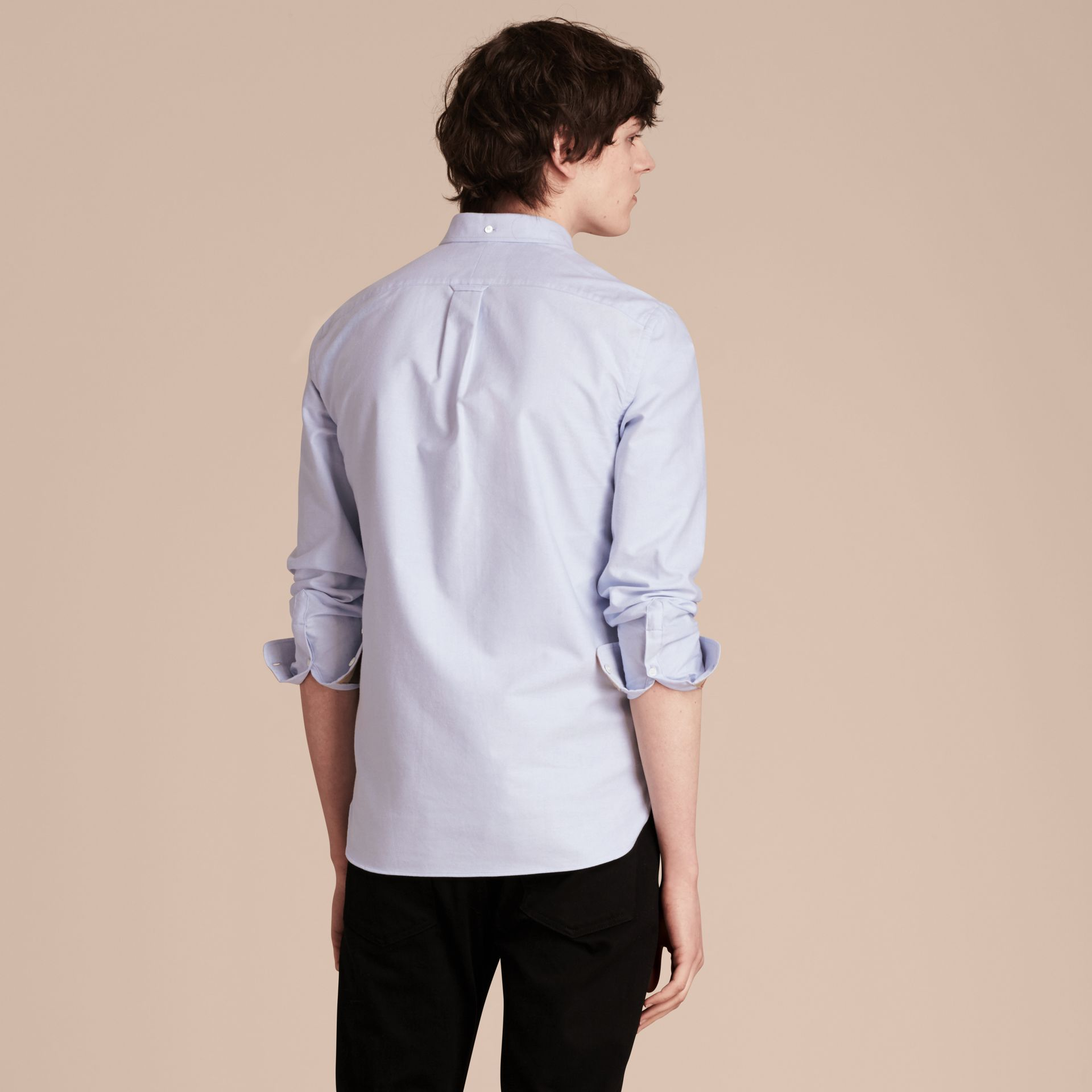 Check Detail Cotton Oxford Shirt in Cornflower Blue - Men | Burberry - gallery image 3