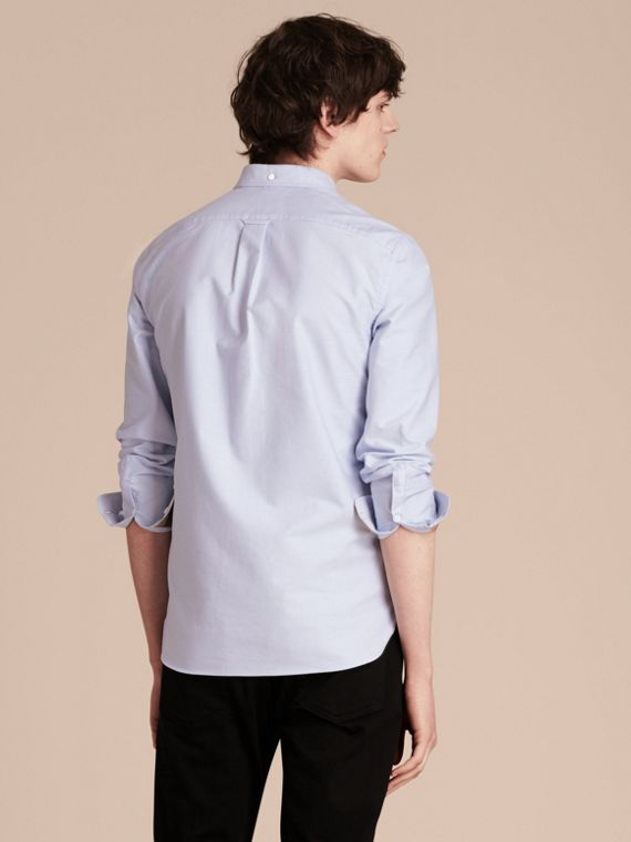 Check Detail Cotton Oxford Shirt in Cornflower Blue - Men | Burberry Singapore - cell image 2