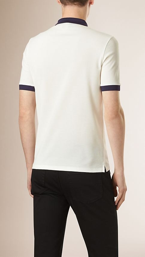 White/navy Mercerised Cotton Polo Shirt - Image 2