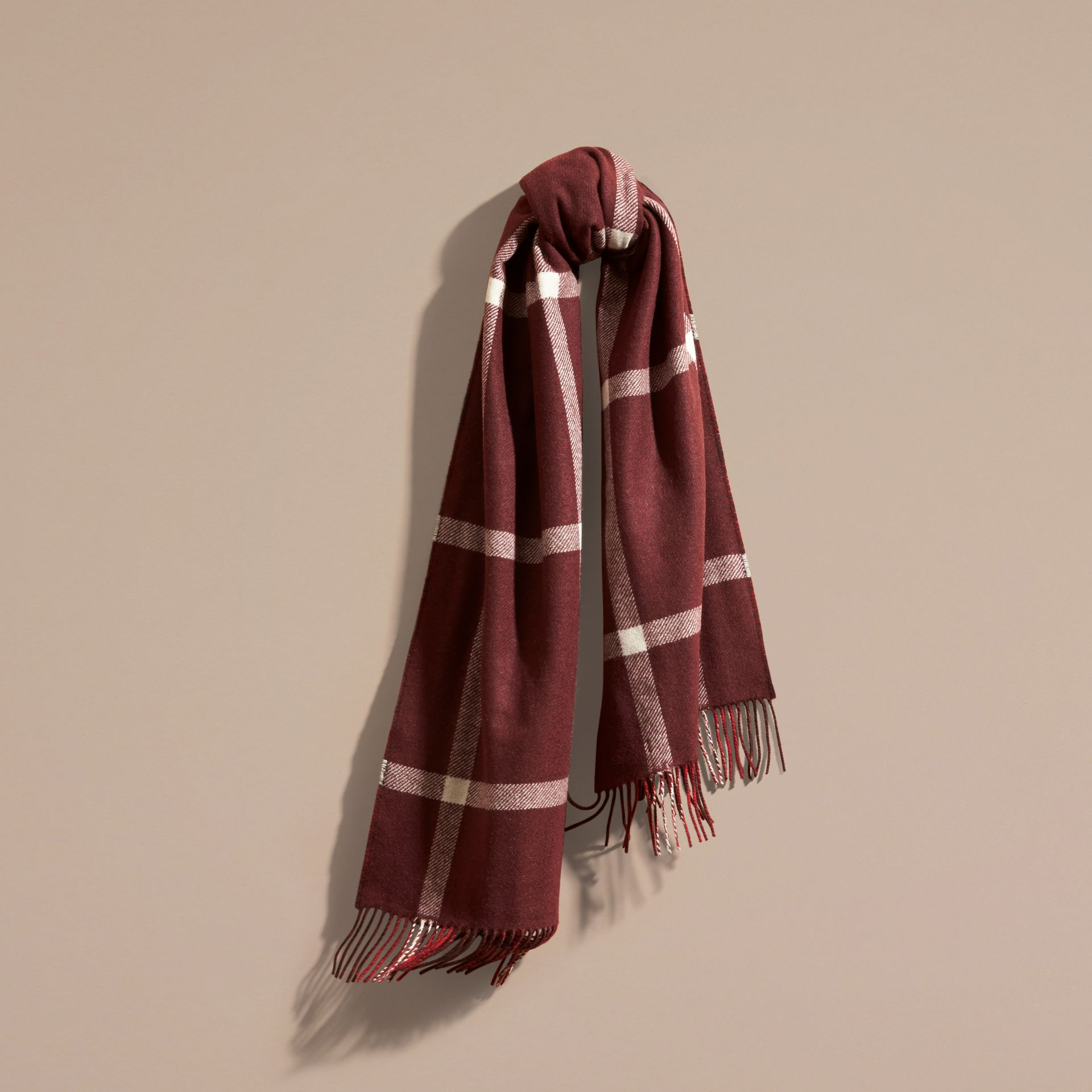 Deep red The Reversible Cashmere Scarf in Tartan Check Deep Red - gallery image 1