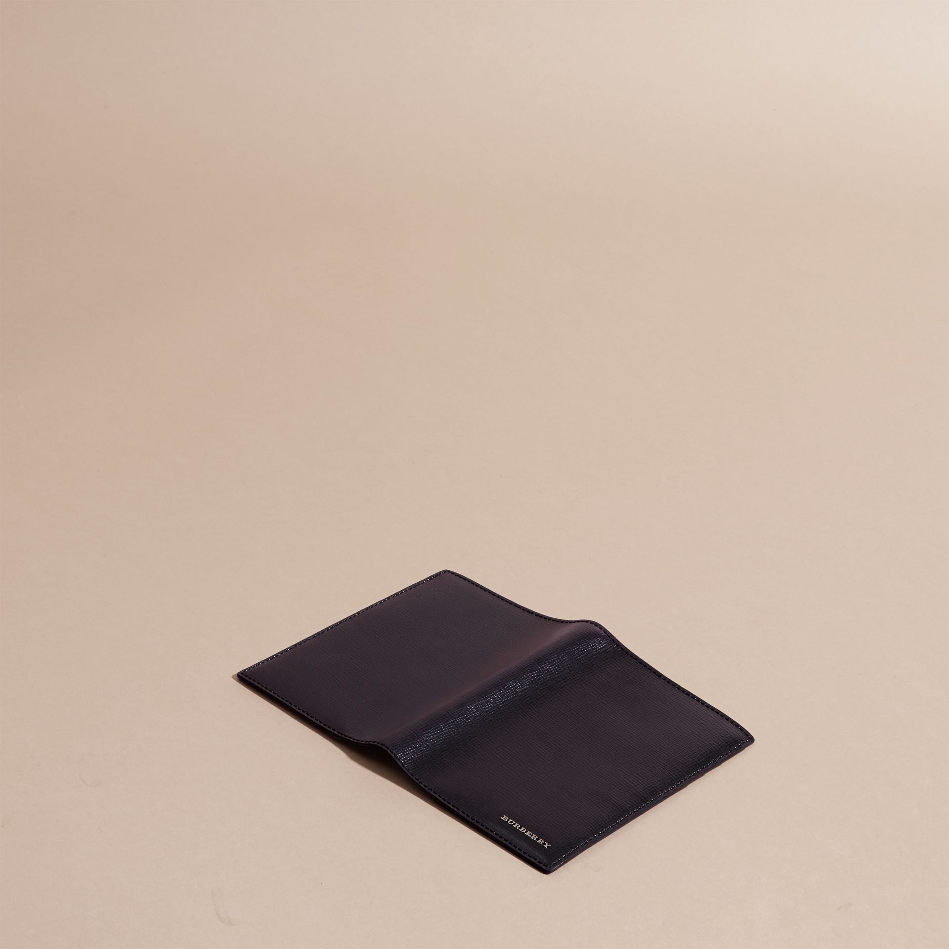 London Leather Passport and Card Holder in Dark Navy - Men | Burberry - gallery image 3