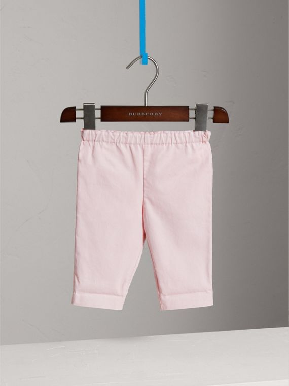 Check Turn-Up Cotton Trousers in Light Pink