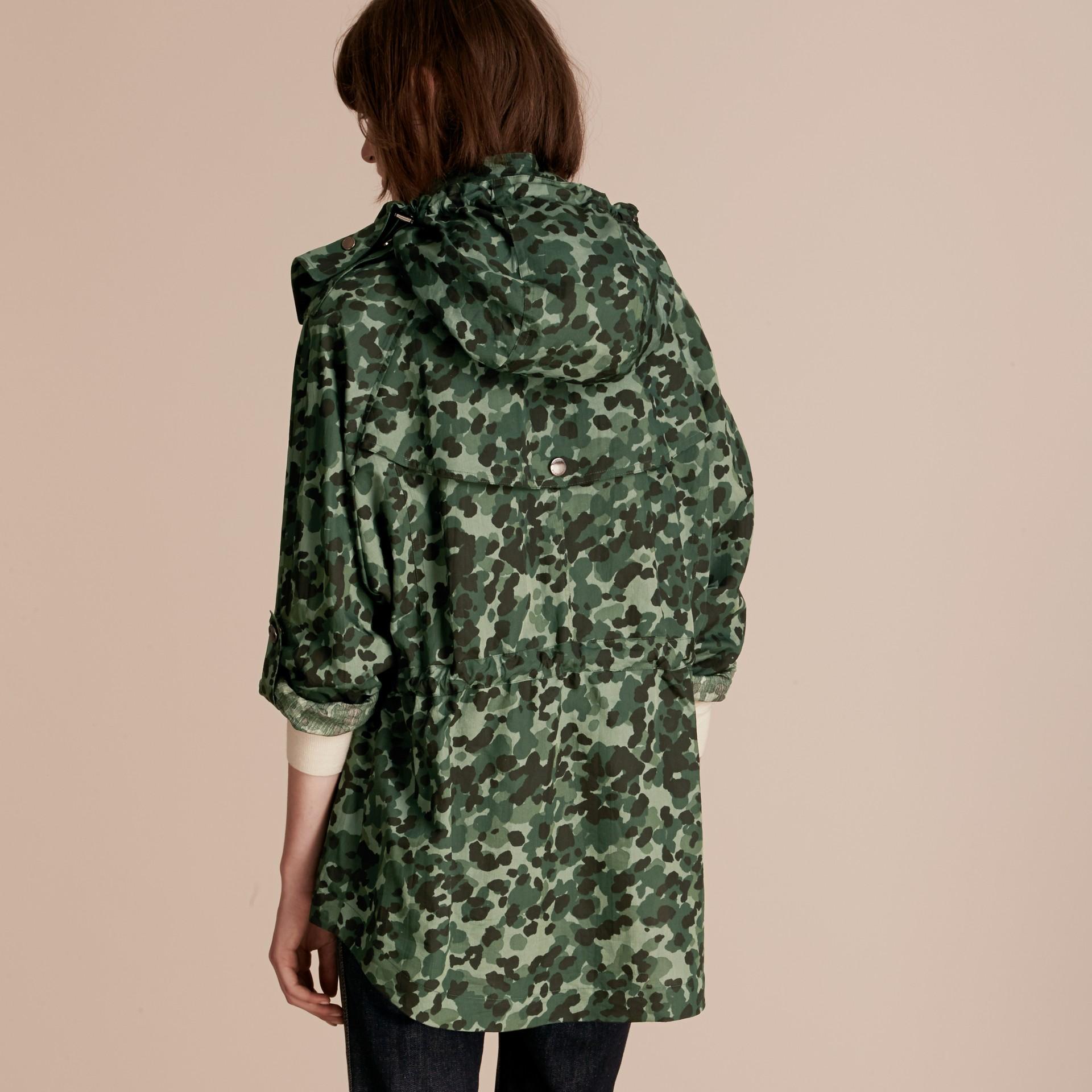 Deep bottle green Showerproof Cotton Parka Jacket with Packaway Hood - gallery image 3