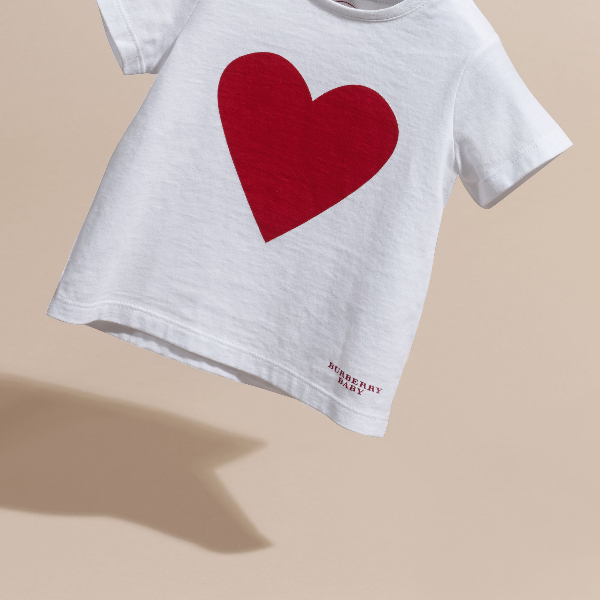 White Heart Print Cotton T-shirt White - gallery image 3