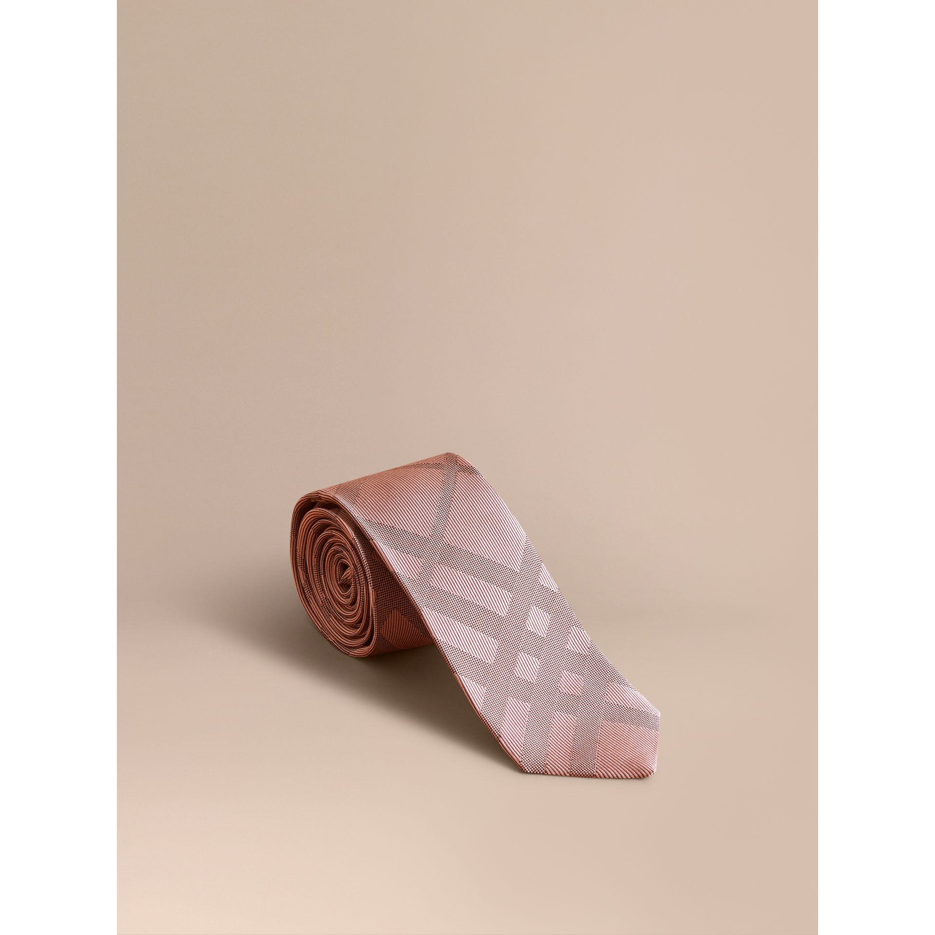 Slim Cut Check Silk Tie in Rose Pink - Men | Burberry - gallery image 1