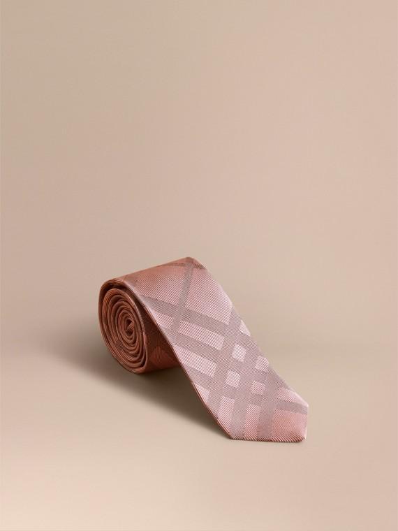 Slim Cut Check Silk Tie in Rose Pink