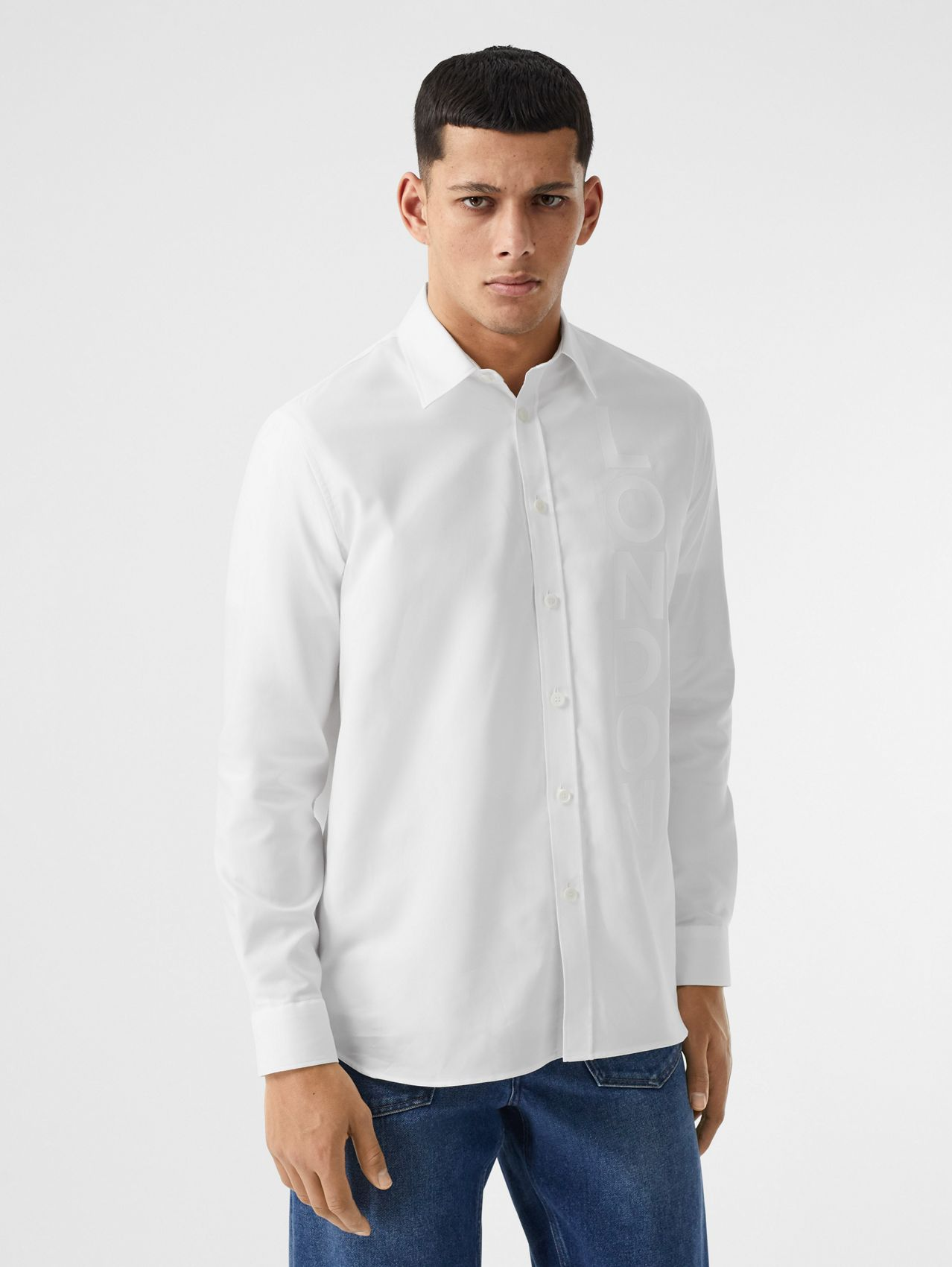 London Print Cotton Oxford Oversized Shirt (White)