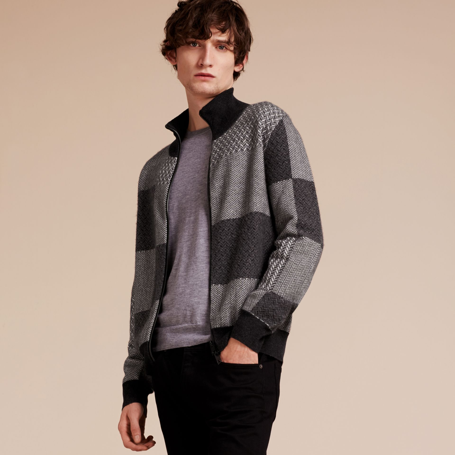 Dark grey melange Funnel Neck Cashmere Cotton Knitted Jacket - gallery image 6